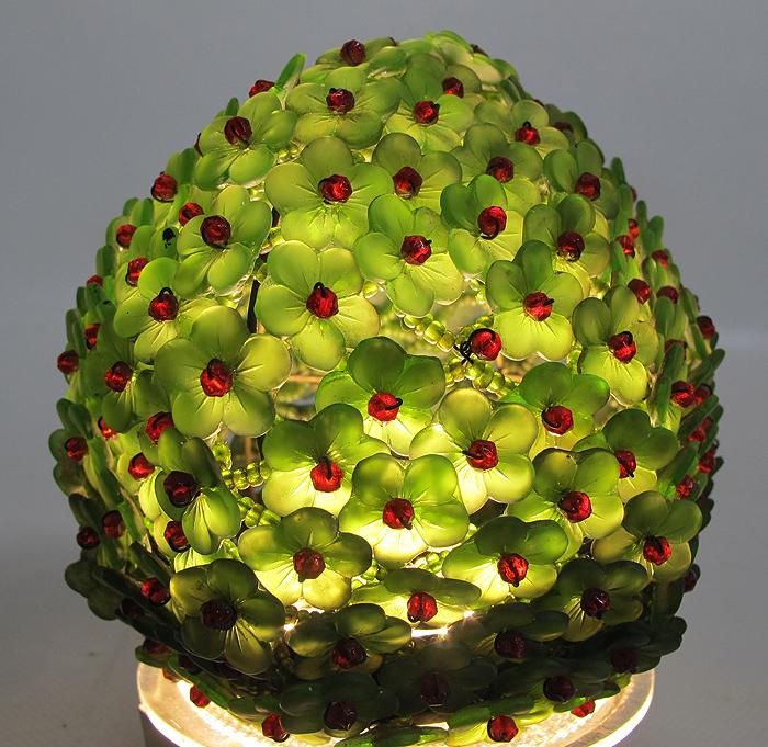 Green Floral Lamp Shade : Art deco czech glass beaded green flower shade for figural